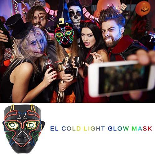 waysad Halloween Maske EL Wire Cosplay Maske Purge Mask für Festival Cosplay Halloween Kostüm ()