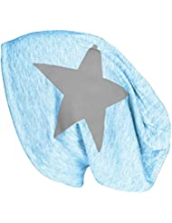 Mevina Beanie Stern Long Beanie Mütze aus Baumwolle Star Applikation Long Slouch in vielen Farben