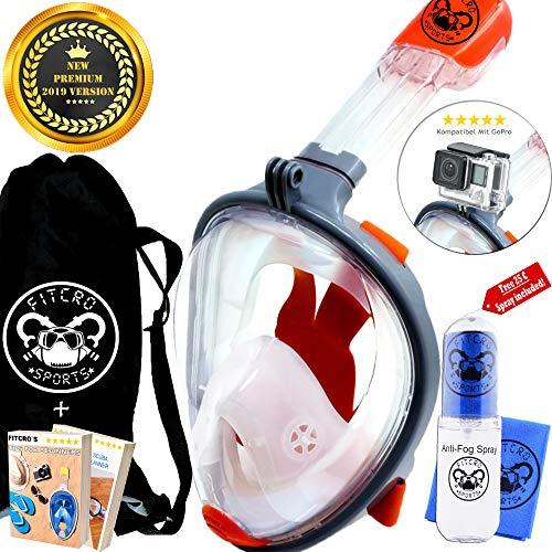 Fitcro Schnorchel Tauchermaske für volle Gesichtsabdeckung | Schnorchelausrüstung mit Leichter Atem- und Dicht-Technologie | GoPro Halterung, Mikrofasertuch, Anti-Beschlag-Spray, Dry Bag & 2 E-Books -