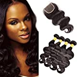 Originea TM mejor 7 un grado 4 pcs Lot Malasia cuerpo Wave Natural color pelo humano Virgen trama con cierre de Freestyle