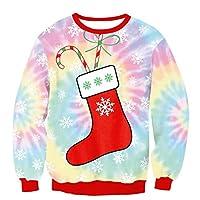 FOOBRTOPOO Novedad Navidad Sudadera Deportiva de Navidad Calcetines Estampado Jersey Otoño Invierno Cuello Redondo Outwear Tops Jerséis de Manga Larga Blusa -S (Color : Colorful, tamaño : L)
