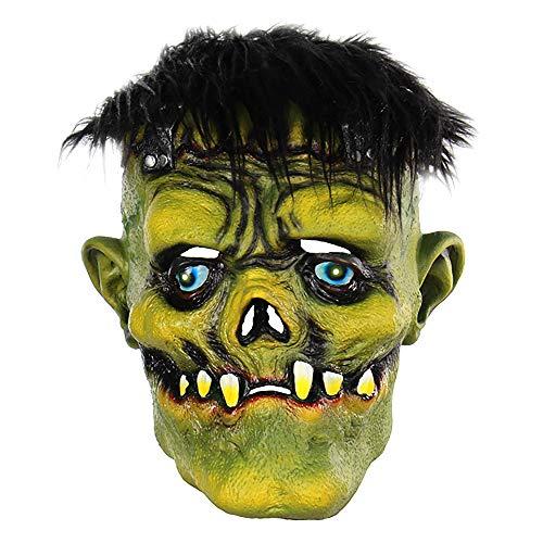 WOFEIYL Horror Brunette Grünes Gesicht Monster Kopfbedeckung Latex -