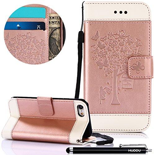 HUDDU Rosegold Schutzhülle für iPhone 7 Handyhülle Schmetterling Muster PU Leder Tasche Slim Wallet Case Flip Hülle Kartenfach Magnetverschluss Stand Cover Brieftasche Blumen für iPhone 7/iPhone 8 -