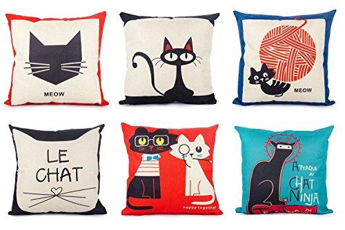 Foto de Top finel Hogar 6 Cojines gatos patrón lino algodón fundas almohada decorativa para camas sofás sillas cuadrado 45X45cm serie