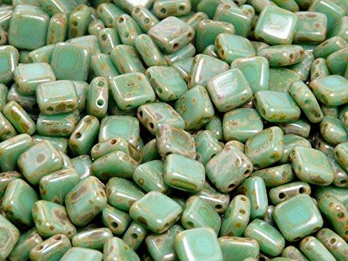 40pcs Tchèque Perles de verre Tuile à deux trous, Plat Carré 6x6x2.9mm Opaque Turquoise Green Travertine Dark