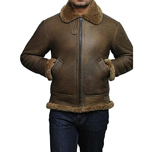 Brandslock Airforce Herren RAF Aviator Soft Shearling Schaffell Leder Bomber Flying Jacket (L, Braun) (Bomber Air Jacke Force Leder)