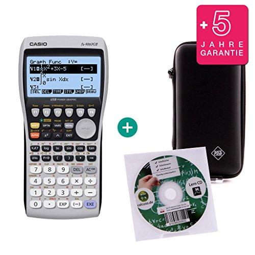 Casio Streberpaket FX 9860 GII + Erweiterte Garantie + Lern-CD + Schutztasche (Grafik Casio Taschenrechner)