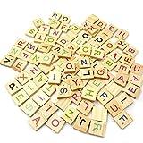 INTVN Scrabble Buchstaben Scrabblefliesen Hölzerne Bunt Alphabet Nummer DIY Handwerk Dekoration Kinder Spielzeug, 200 Stück