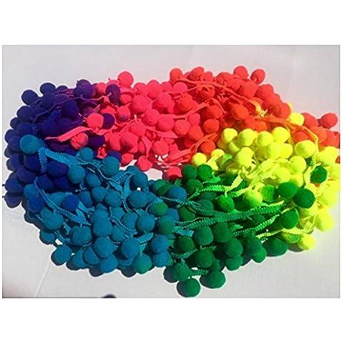 XL Pom Pom Bobble Recortar Fringe–Multicolored Rainbow- bola 2,5cm Jumbo Tamaño grande (se vende por 10m carrete)