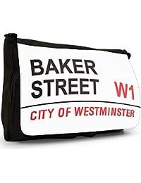 Famous London Landmarks Street Sign Large Messenger Black Canvas Shoulder Bag - School / Laptop Bag