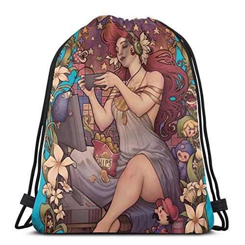 3D Stilvolle und schöne Druckmuster Gamer Girl Nouveau Old School Drawstring Rucksack Leichte Nylon Drawstring Bookbag mit Außentasche