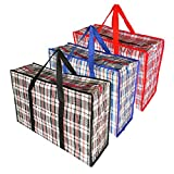 Large Laundry Storage Zip Bag, Reusable Robust Handy Versatile Tote Storing Bags for House Move Pack, Travel, Shopping, Clothes, King Size Duvet, Bedding, Pillow, Cushion Store - 3 Count