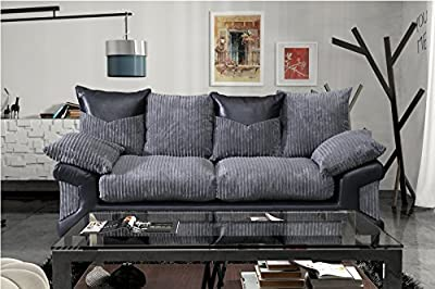 Grande Nuovo Dino Jumbo Cord Fabric & Faux Leather Panel 3 Seater Sofa by Furniture Stop