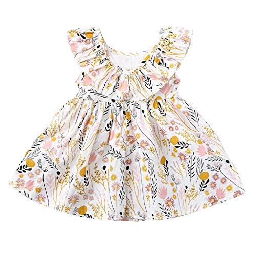 Bestow Vestido sin Mangas con Volantes y Estampado Floral para niños Vestido de Princesa Niñas con Volantes Sin Mangas con Flores(Blanco,2-3T)
