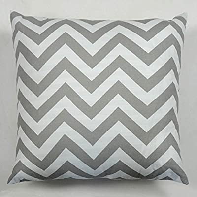 "Pillow Cases Standard Size, Hidoon® 18 ""X18 "" Cotton Linen Decorative Throw Pillow Case Cushion Cover White and Grey Chevron Stripe - cheap UK light store."