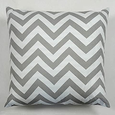 Pillow Cases Standard Size, Hidoon® 18 X18 Cotton Linen Decorative Throw Pillow Case Cushion Cover White and Grey Chevron Stripe by Hidoon