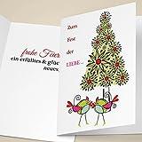 4er Set Coole Unternehmen Weihnachtskarten mit Vogel Päarchen vor Weihnachtsbaum, mit ihrem Innentext (Var10) drucken lassen, als Firmen Weihnachtskarte für Kunden, Mitarbeiter: Zum Fest der LIEBE.