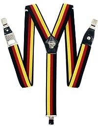 Weit verstellbare Y-Form Männerträger mit Flaschenöffner, in Farben der deutschen Flagge.