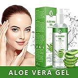Aloe Vera Gel - 100% Bio für Gesicht, Haare und Körper – Vegan, Rein und Natürlich Feuchtigkeitscreme - Ideal für Sonnenbrand Reparieren, trockene strapazierte Empfindliche Haut -...