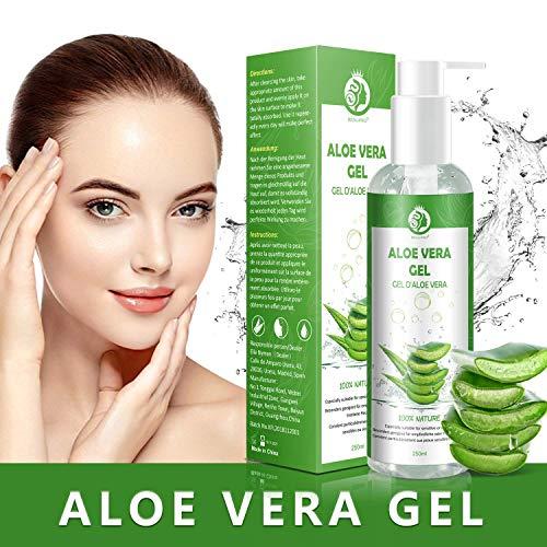 Aloe Vera Gel - 100% Bio für Gesicht, Haare und Körper - Vegan, Rein und Natürlich Feuchtigkeitscreme - Ideal für Sonnenbrand Reparieren, trockene strapazierte Empfindliche Haut - After Sun, 250ml -