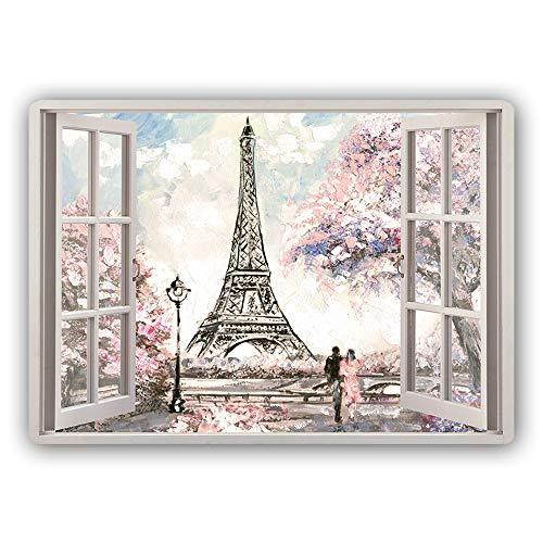 Feeby Metallposter Eiffelturm Bilder Wandbild Deko Fenster-Illusion Rosa 30x20 cm