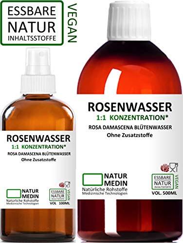 ROSENWASSER 500 + 100-ml SPRAY GLAS, Ayurverda, Körper- und Gesichts-wasser, 100% naturrein, 1:1 Konzentration, Rosa damascena Blüttenwasser, ohne Zusatzstoffe, nachhaltig -
