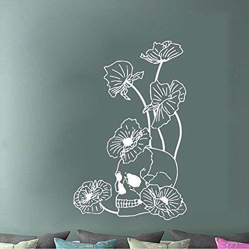 e Skelett Blumen Wandaufkleber Festival Dekoration selbstklebend abnehmbar , white (Wohnheim Tür Dekoration Halloween)