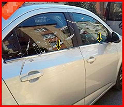 Chevrolet Aveo Saloon chrome windows frame trim 4pcs S.STEEL 2006-2012