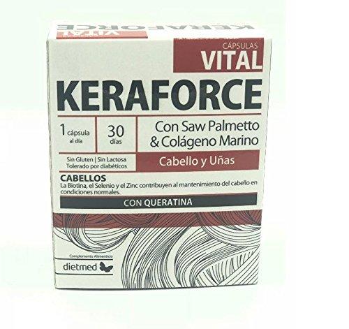 Dietmed - Compresse Keraforce contro la caduta del capelli, biotina, cheratina, collagene marino, zinco, rame, rafforzano i capelli rafforzano anche le unghie, 30 compresse. 1 al giorno