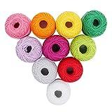 Lot de 10 Bobines de Fil en Coton pour Crochet par Kurtzy - Assortiment de couleurs Unies - Fil Adapté à de Nombreux Types de Projets - 10 Grammes - 85 Mètres de Fils - Matériel Haute Qualité