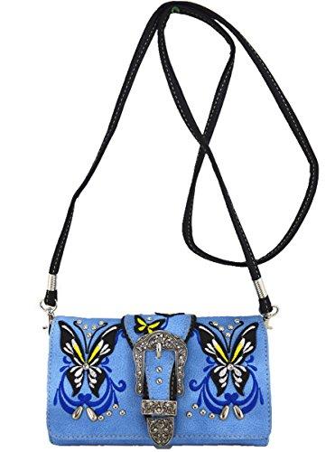 Blancho Bedding occidentale strass fibbia a farfalla-2 COMBO AVORIO WALLET-BLUE