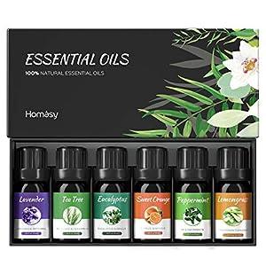 VicTsing Ätherische Öle Set (6x10ml), Essential Oil für Aromatherapie, Duftöl für Aroma Diffuser, 100% Rein Öle, Lavendel, Pfefferminz, Teebaum, Zitronengras, Eukalyptus, süße Orange-Braun