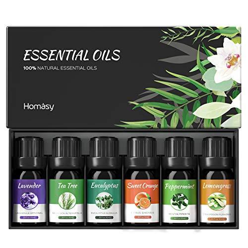 Ätherische Öle Set (6x10ml), VicTsing Essential Oil für Aromatherapie, Duftöl für Aroma Diffuser, 100{a5b376b75bdbdacfc3dfa4b19f5c31e7543eae179b54b80866d0126e7837b294} Rein Öle, Lavendel, Pfefferminz, Teebaum, Zitronengras, Eukalyptus, süße Orange-Braun