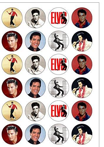 Lot de 24 décorations Elvis Presley The King plaquette comestibles Papier Cake Toppers décorations (Presley-dekorationen Elvis)