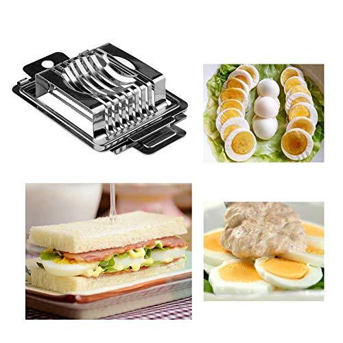 Dough.Q Eierschneider, 3 in 1 Edelstahl Eierteiler Spülmaschinenfest Rostfreier Gemüseschneider Fruchtschneidemaschine Multifunktions-Obstschneider-Küchenbedarf Küche liefert