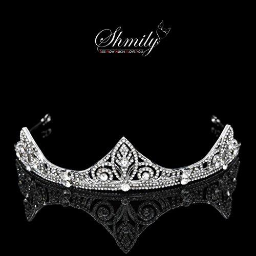 shmily Premium boda brillantes Diadem Tiara Corona Diadema de pelo cabello novia joyas plata nuevo dh0012
