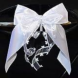 10lazos decorativos marca Miya@ hechos a mano y con diseño de corazón en satén para decoraciones de boda, coches. etc.