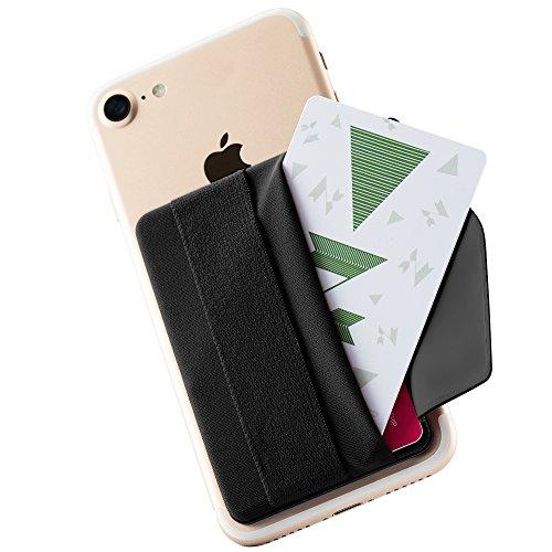 Sinjimoru Smartphone Kartenhalter mit Handygriff, Handy Halterung Finger mit Kartenfach, Smart Wallet, aufklebbare Mini Geldbörse mit Verschluss für iPhone und Android. Sinji Pouch B-Flap, Schwarz.