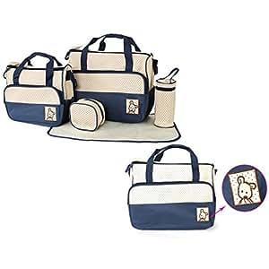 Itian Set 5pcs Mutter Bag, für Baby-Milch Trinken, Windel Wechseln und Lagerung andere Dinge (Blau)