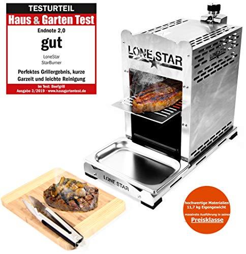 LoneStar StarBurner Edelstahl Beef Grill, Hochtemperatur Gasgrill, Beefmaker Oberhitzegrill bis 800°C, Gas Griller, Steak Grillen wie ein Profi, Steakgriller, Gasbrenner 4,3 KW, inkl. 4 Steakmesser