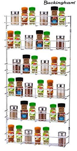 Buckingham 6 Tier Spice & Herb Rack Wall Mountable or Kitchen cupboard door storage, Sturdy gauge chrome plated wire construction. Premium quality, Metal, 41.5 cm x 6.2 cm x 79.5 cm