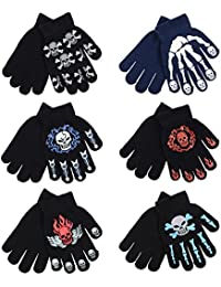 6 Pairs Of Boys Kids Assorted Knitted Skeleton Skull Grips Winter Magic Gloves