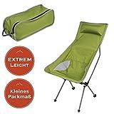 Ultra Leichtgewichts Campingstuhl - mit EXTREM hoher Lehne und EXTREM kleinem Packmaß, grün
