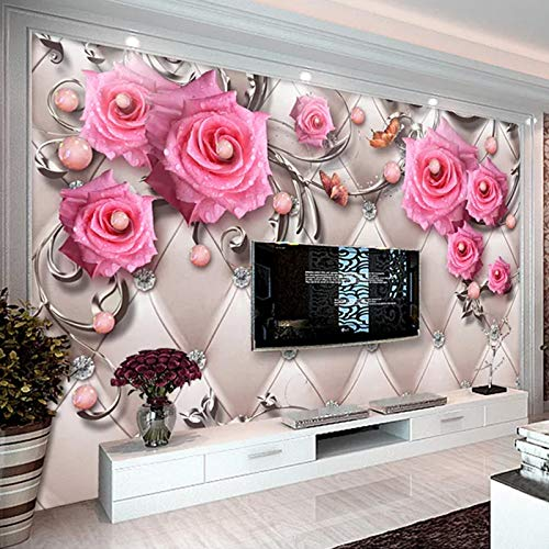 Fototapete 3d effekt Benutzerdefinierte 3D Fototapeten Wandbilder Moderner Schmuck Blume TV Hintergrund Wandbild Wohnzimmer Schlafzimmer Vlies Wasserdichte Tapete 1㎡(1 Quadratmeter)