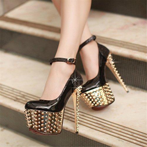 UH femmes Courroie de cheville Rivets Plateau Pumps Boucle Femme Super 16.5cm Paragraphe Chaussures de danse Noir - Noir