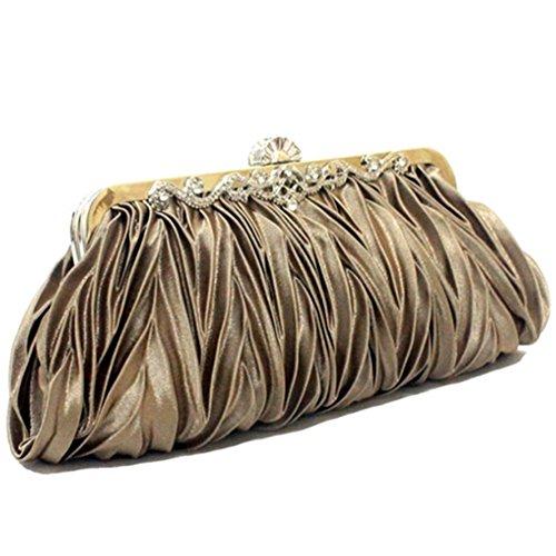 ERGEOB® Donna Clutch sacchetto di sera borsetta Clutch piccola rasotaschino Banchetto taschino matrimonio taschino Borsa della sposa grigio