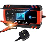 Car Battery Charger, Enhanced Edition 8A 12V/4A 24V Car Battery Charger Charges, Automotive Smart Portable Battery…