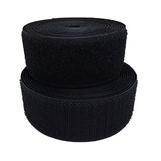 Mftla Nylon-Klettverschluss-Band zum Aufnähen an Kleidung, Schuhe, Tasche und Stoff, 5 m lang, Schwarz , 10cm-Width Black