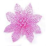 Turelifes Confezione da 8Glitter Artificial Poinsettia Fiori Albero di Natale Ornamenti 15cm (15cm) Diametro, Rosa, 5.99''*5.99''