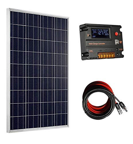 ECO-WORTHY 100W 120W 12V Solar Panel Kit with 20A Solar Charge Controller & 5m Solar Cable & Z Style Mounting Brackets for RV Boat Motorhome Caravan Camper (100W Solar Panel System) Solar Panel Controller